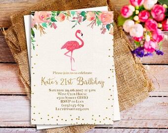 flamingo 21st birthday party invitation, flamingo sweet 16 birthday invitation, flamingo adult birthday invitation, pink flamingo invite