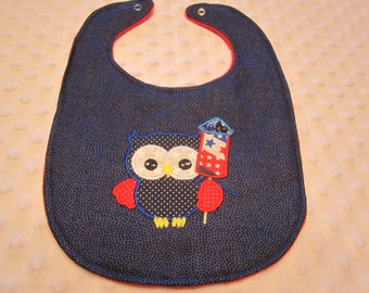 Ready to ship Embroirdered Fourth of July Owl Boutique Bib ~ Neutral Boy or Girl Bib ~ Reversible with Soft Minky Fabric