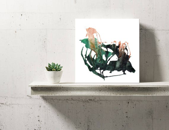LEAVES SERIES #1014, Artist-Signed, Abstract Giclee Wall Art Print, Modern Home Decor, Contemporary Art ,Green Painting