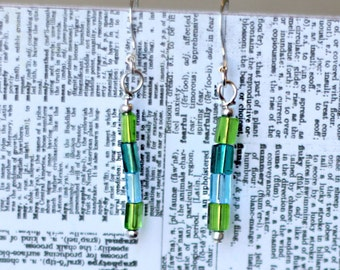 Handmade blue and green stacked earrings