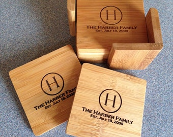 Personalized bamboo coaster set with storage caddy