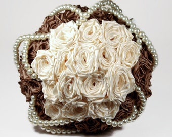 Mocha Satin Rose And Pearl Bridal Bouquet
