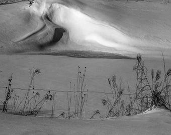 Drifted Snow, Wind-blown, Shadows, Abstract, Minimalism, Landscape, Black and White, Fine Art Photo, Download, Wall Art, Poster, #_2250220V