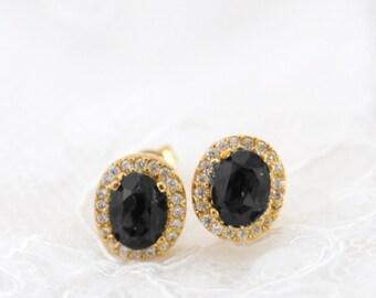 Black Wedding Earrings Gold, Black Bridal Earring Studs, Small Post Earrings, Gold Crystal Studs for Bride, Dainty Stud Earrings in Gold