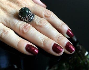 1960s Poland Brutalist Jade Ring//Modernist Sterling Silver Ring//Mid Century Modern Jewelry//Vintage Hallmarked Statement Ring