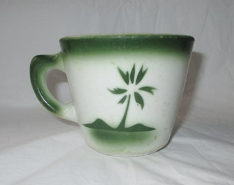 Jackson China Restaurant Ware Coffee Cup, Green Airbrush Stencil Palm Trees (c. 1963)