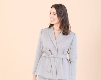 Grey tailored blazer - Organic cotton wrap jacket - Sustainable womens clothing