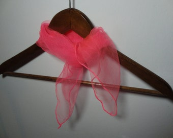 Vintage Women's Bright Pink Sheer Chiffon Hair or Neck Scarf