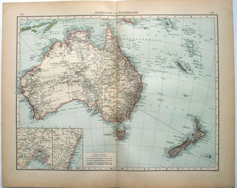 Australia & New Zealand: Original 1896 Map by Velhagen and Klasing. Antique