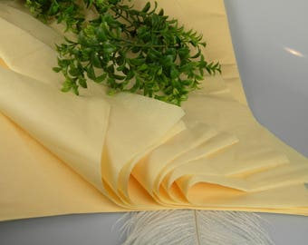 24 Tissue Paper Sheets | Butter Yellow | Solid Color Sheets | Gift Wrap Tissue | Luxury Packaging | Craft Tissue | Favor bag Tissue