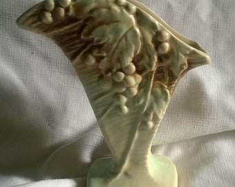 Original McCoy Pottery Grapes and Leaves Motif(Rustic Line) Vase-c. 1945