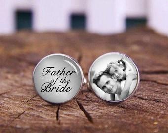 Wedding Cufflinks, Father of The Bride Cuff Links, Custom Any Text or Photo Cufflinks, Groom Cufflinks, Personalized Cufflinks, Tie Clip