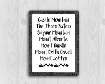 Alberta Mountains Print, Alberta Mountains Printable, Canada Printable, Canada Print, Print at Home, Digital Download