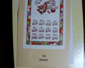 Vintage Calender Towel in box never used w/ hanger linen by STEVCO # 184 Missie pattern