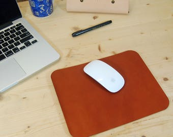 Leather Mouse Pad, Mouse Pad, Gift for Him, Gift for Her, Brown, Tan, Cognac, Desk - Free Embossing Initials/Name - Handmade in England