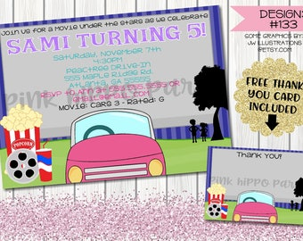 Movie Night Drive In, Outdoor:Design #133-Children's Birthday Party Digital Invitation File 4x6 or 5x7 Free Thank You Card with Purchase