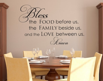 Kitchen Prayer Wall Decal Bless The Food Before Us Quote Family Vinyl
