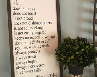 Love is patient, bible verse sign, love is patient sign, 1 Corinthians 13:4-7