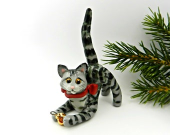 Cat Gray Tabby PORCELAIN Christmas Ornament Figurine Christmas Ball OOAK