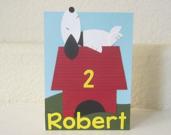 Snoopy Peanuts Inspired Custom Birthday Card