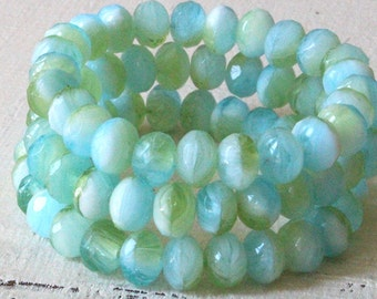 5x7mm Faceted Rondelle Beads - Czech Glass Beads - Jewelry Making Supply - 7x5mm Ocean Seafoam - 25 Beads