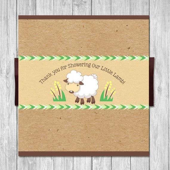 Little Lamb Baby Shower Candy Bar Wrapper - Lamb Baby Shower Candy Wrapper - Little Lamb Baby Shower - Little Lamb Party Shower Favors