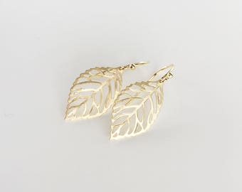 Small Gold Leaf Earrings, Gold Plated Brass Ear Hooks, Lightweight Gold Plated Brass Woodland Leaf Earrings, Simple Everyday Jewellery