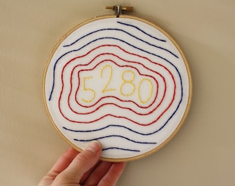 5280 Embroidery Hoop // Denver Wall Art // Denver Colorado Wall Decor // Denver Sign // Denver Art // Colorado Gift // 6 Inch Hoop