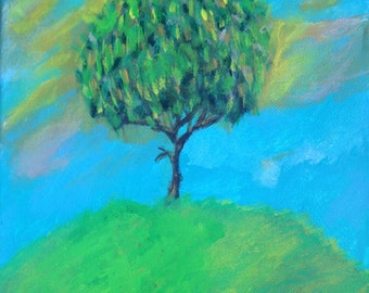 The beautiful tree Acrylic painting by Bradley Pearson on an 8x8 inch stretched canvas