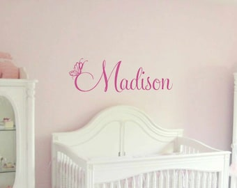 Butterfly wall decal - Wall decal butterfly - Personalized Name Wall Decal - Monogram Wall Decal - Girls Wall Decal