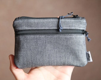 wallet women / gray fabric wallet / vegan / minimalist zipper pouch