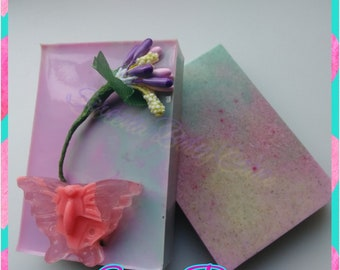 SWEET PEA 3oz. Oatmeal Rectangle Soap/Body Bar with Butterfly Soap Embed and Imitation Flower on Top