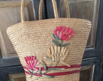 Vintage Straw Tote Handbag. Waterproof Red Lining