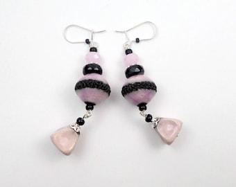 Stud Earrings while silver black powder pink raku ceramic