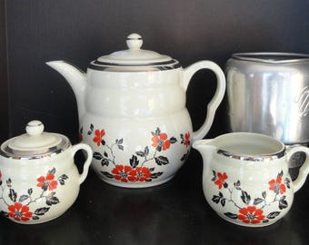Vintage HALL'S RED POPPY Coffee Pot w/ Creamer and Sugar and Metal Strainer