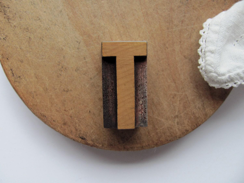 Vintage Letterpress Letter T Printer Block T Initial Alphabet Wood