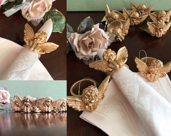 Cherub Napkin Rings, Resin Angel napkin Rings, gold Cherub Faces, 9 piece set, Napkin holders, Table decor, gift for her, wedding