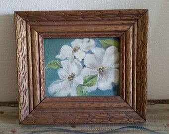 Small antique white clematis acrylic painting shabby chic farmhouse decor
