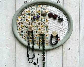 Porta gioielli ed Organizer , Porta orecchini fatto a mano, Shabby chic, Porta orecchini a muro, Misura MEDIA