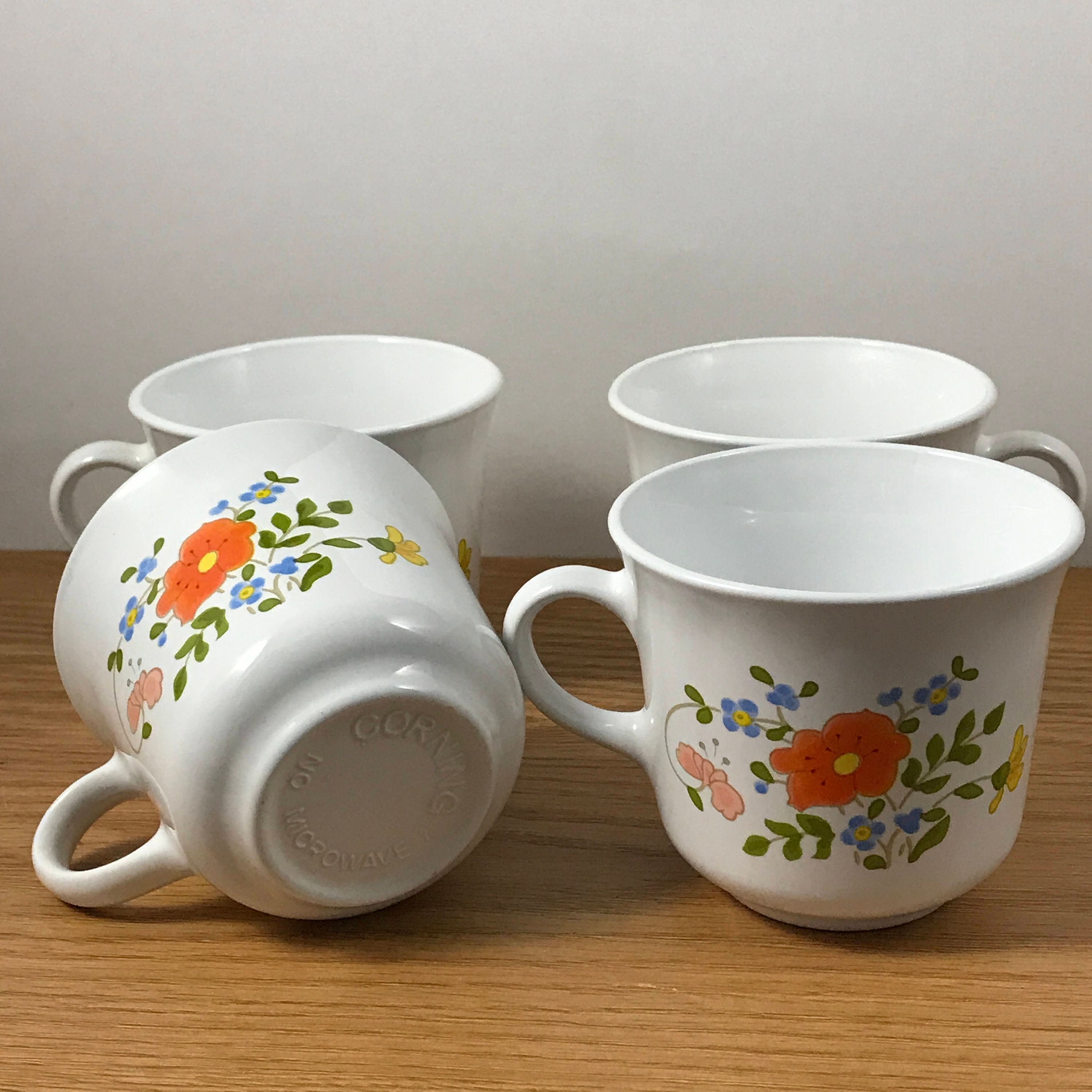 4 Corning Ware Wildflower Cups - Corelle - Pyrex - Four Replacement ...