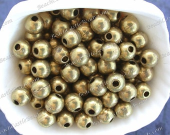 Brass Beads, 100 ~ 6mm Round Brass Beads, Handcrafted Hollow Lightweight Metal Beads, Large Hole Beads, Macramé Beads  MB-023-100