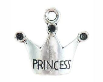 BULK 60 Silver Princess Crown Charm Pendant 17x19mm by TIJC SP1073B