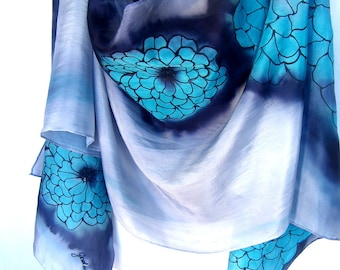 """Hand Painted Silk Scarf, Dahlia Flower, Turquoise Blue Gray Black, Floral Silk Scarf, 71"""" x 18"""", Gift For Her"""
