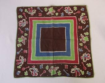Vintage 1950's handkerchief, Mexican Theme  Sombrero Mexico Mariachi Hanky, Pocket Square, Handkerchief, Super Cool, All Cotton