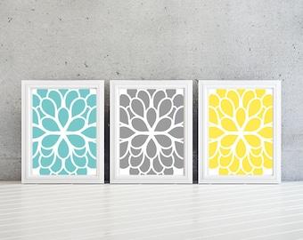 Flower Wall Art - Teal Blue Yellow Gray Dahlia Flower Print Trio. Bathroom Art. Bedroom Art. Bath Art. Home Wall Art Bedroom Nursery -NS-356