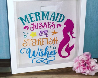 Personalised Money Box Frame Printed cute mermaid wishes and starfish kisses gift