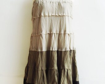 S2, Wavy Spring Summer Sexy Brown Cotton Skirt, brown skirt