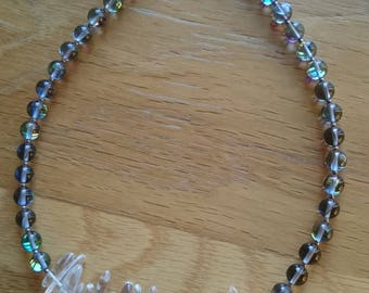Aqua Aura and Quartz necklace
