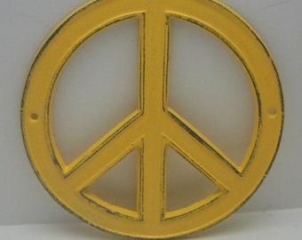 Peace Sign Warm Sunny Lemon Yellow Cast Iron Circle Wall Decor Rustic Retro Funky 70's Style Shabby Elegance Weathered Wall Art Sign