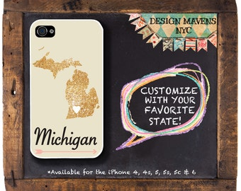 Michigan iPhone Case, Personalized State Love iPhone Case, Fits iPhone 4, iPhone 5, iPhone 5s, iPhone 5c, iPhone 6, NOT REAL GLITTER